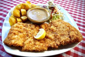 Bavarian Schnitzel with Home Fried Potatoes