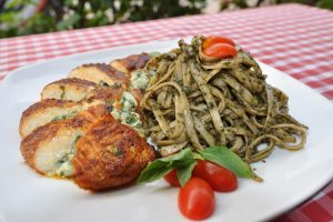 Spinach Stuffed Chicken Breast with Pesto Linguine